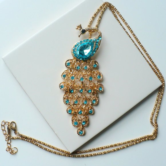 Jewelry - ❤️ Rhinestone Peacock Pendant Necklace Teal